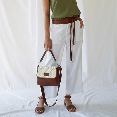 Tan and Raffia Box Bag