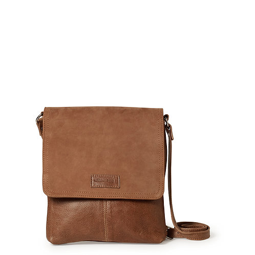 Suede and Light Brown Messenger Bag