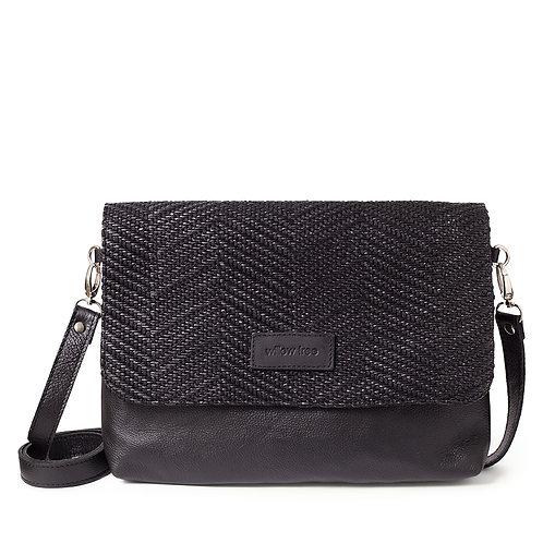 Black Textured Shoulder Bag/Clutch