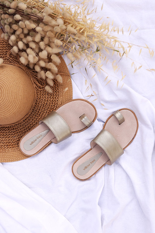 Leather Toe Detail Sandals - White Gold