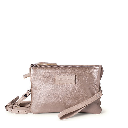 White Gold & Cream Mini Sling Wallet and Clutch Bag
