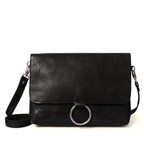 Black Ring Detail Shoulder Bag/Clutch