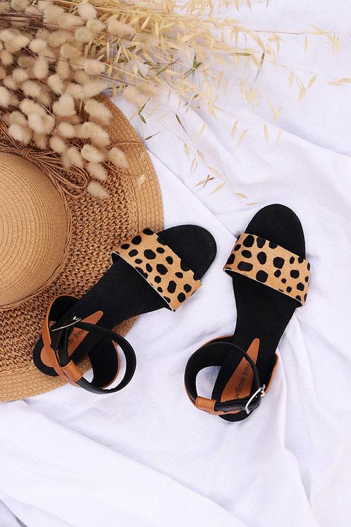 Leather Sandals - Animal Print