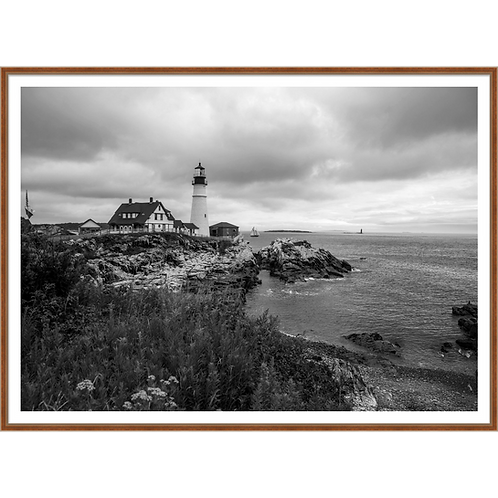 Rocky Shore and Lighthouse I in Black & White