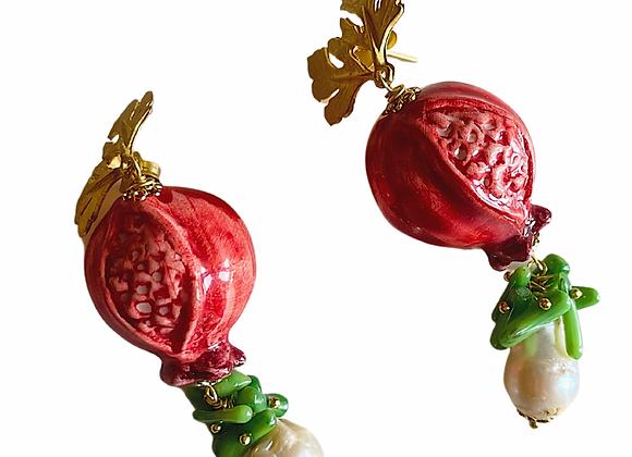 Melograno ceramice earring
