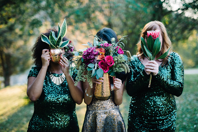 Wedding Shoot 3 girls flower in face modern-boho-glam-wedding-ideas
