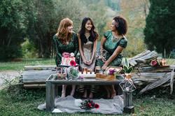 Wedding Shoot 3 girls log modern-boho-glam-wedding-ideas