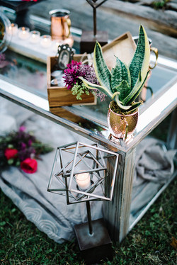 Wedding Shoot glass table scape modern-boho-glam-wedding-ideas