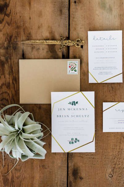 Eucalyptus and Gold Wedding Invitation S