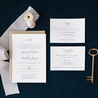 Classic Navy Wedding Invitation Suite