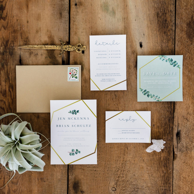 Eucalyptus and Gold Wedding Invitation S