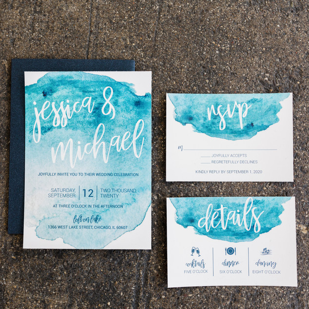 Blue Watercolor Wedding Invitation Suite