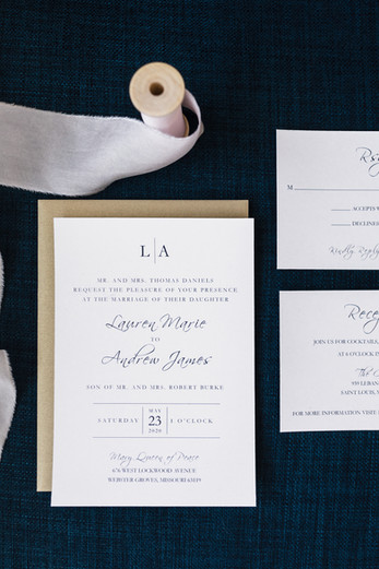 Classic Navy Wedding Invitation Suite