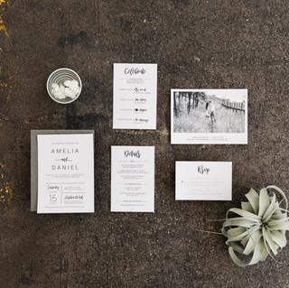 Classic Black and White Wedding Invitati