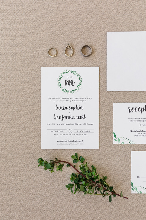 Modern Leafy Monogram Wedding Invitation