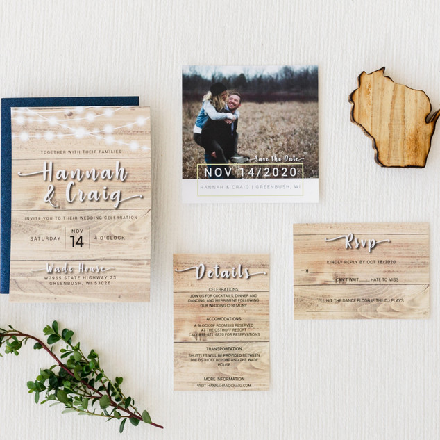 String Lights Woodgrain Wedding Invitati