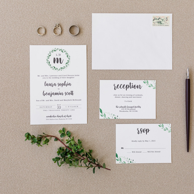 Modern Leafy Monogram Wedding Invitation
