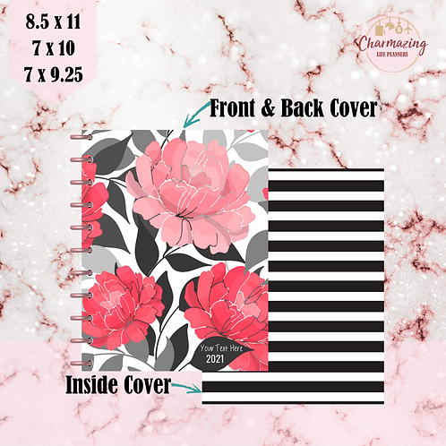 """Posh Peonies "" Planner Cover Set"