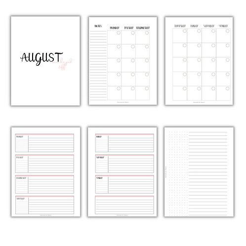 Horizontal Lines Planner Inserts