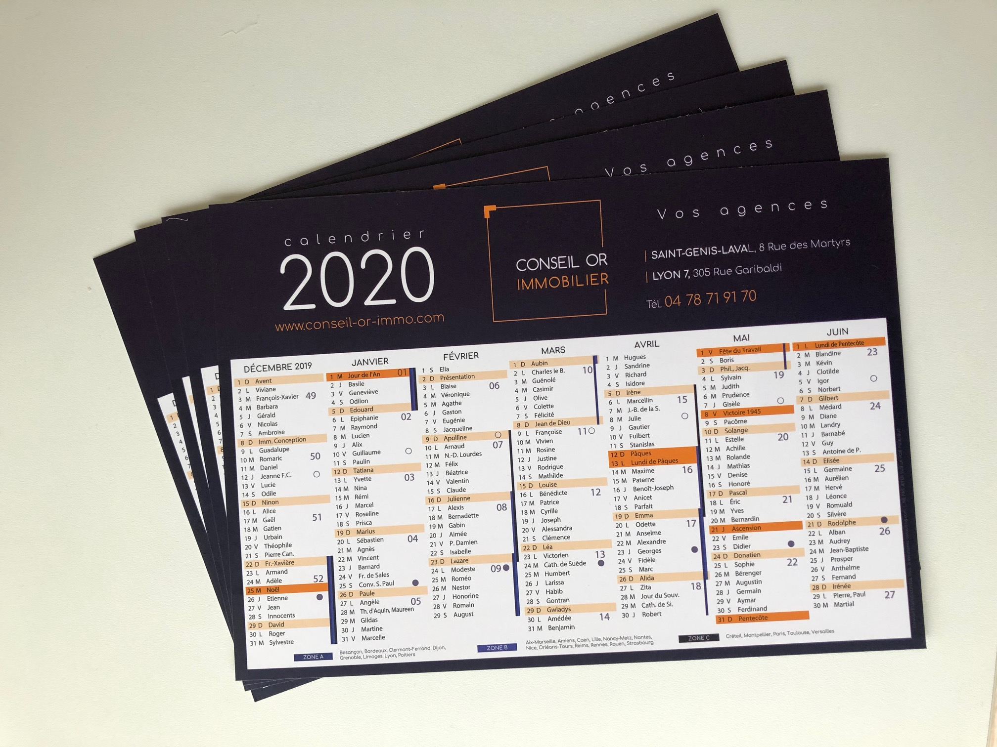 Calendrier 2020 CONSEIL OR IMMO
