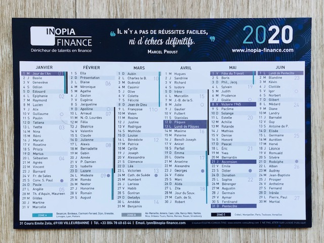 Calendrier 2020 INOPIA FINANCE