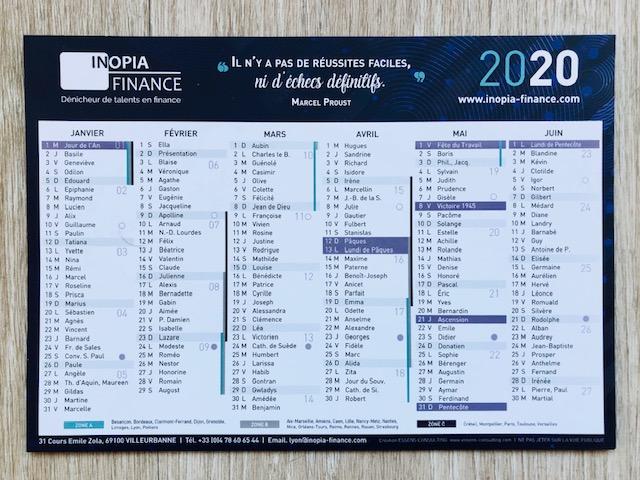 Calendrier 2020 INOPIA FINANCE