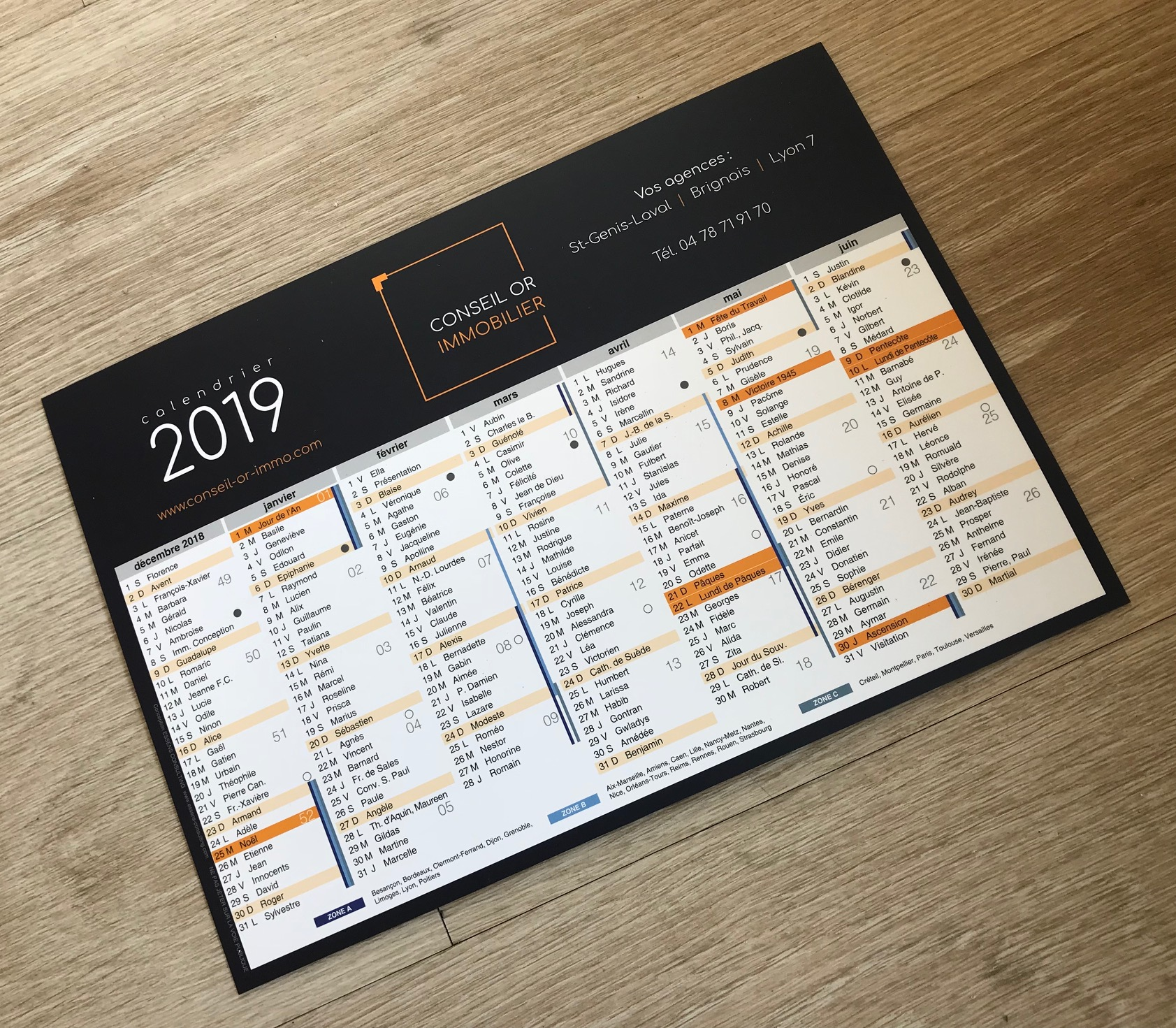 Calendrier 2019 CONSEIL OR IMMO