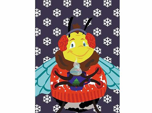 """Postkarte """"Winterhummel"""""""