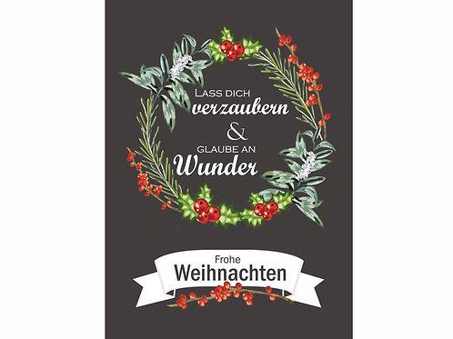 """Postkarte """"Lass dich verzaubern und glaube an Wunder - Frohe Weihnachten"""""""""""