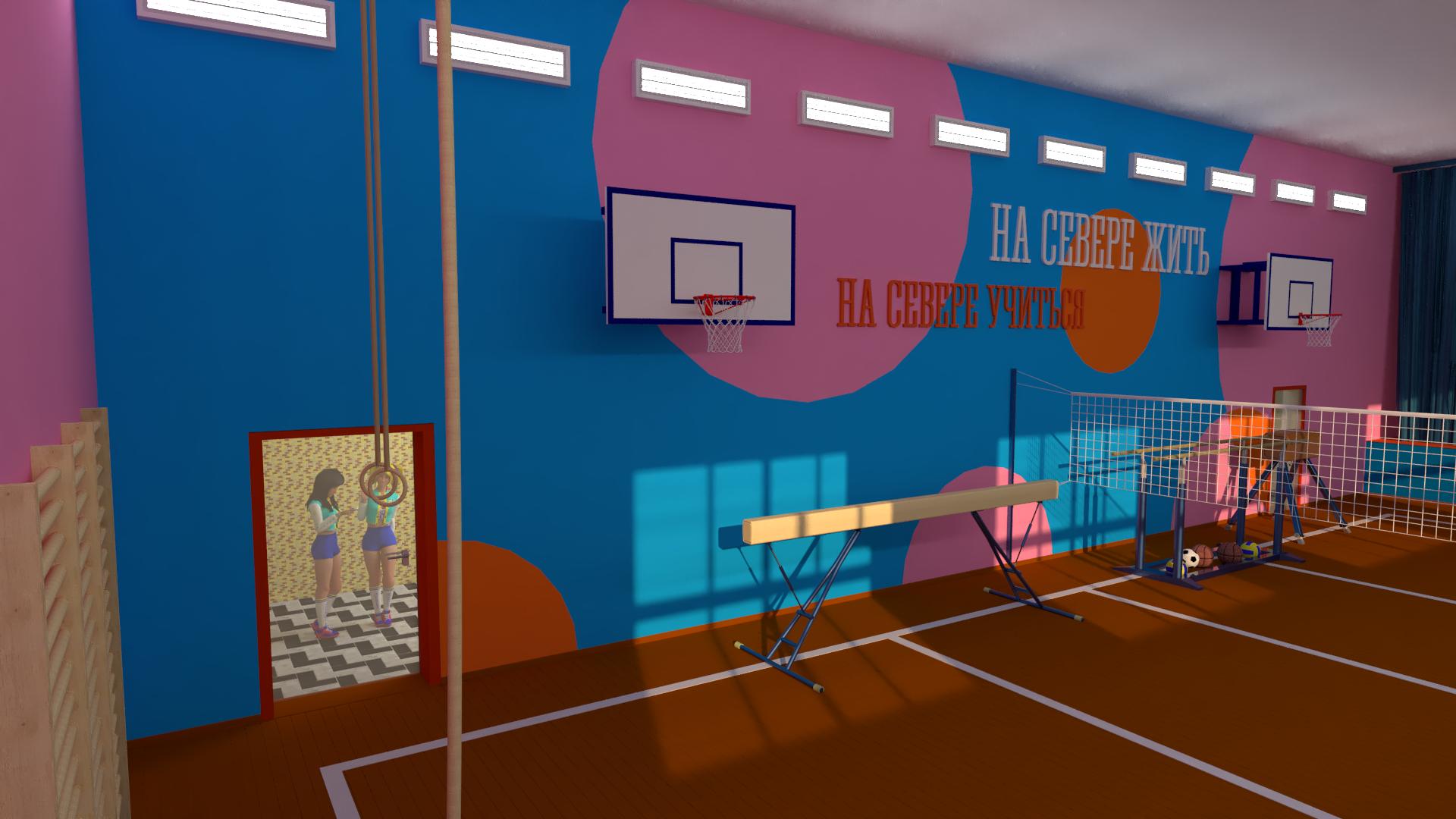 Спортзал: Длинная стена слева