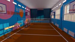 Спортзал сельской школы: Вид на сцену