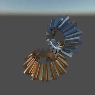 Анимация угловых шестерен в блестящих материалах