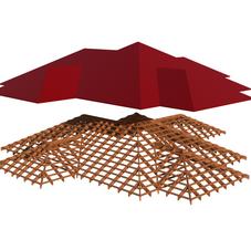 Общий вид сложной крыши и стропильной системы