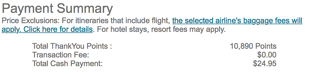 Book with points through Citi Thank you