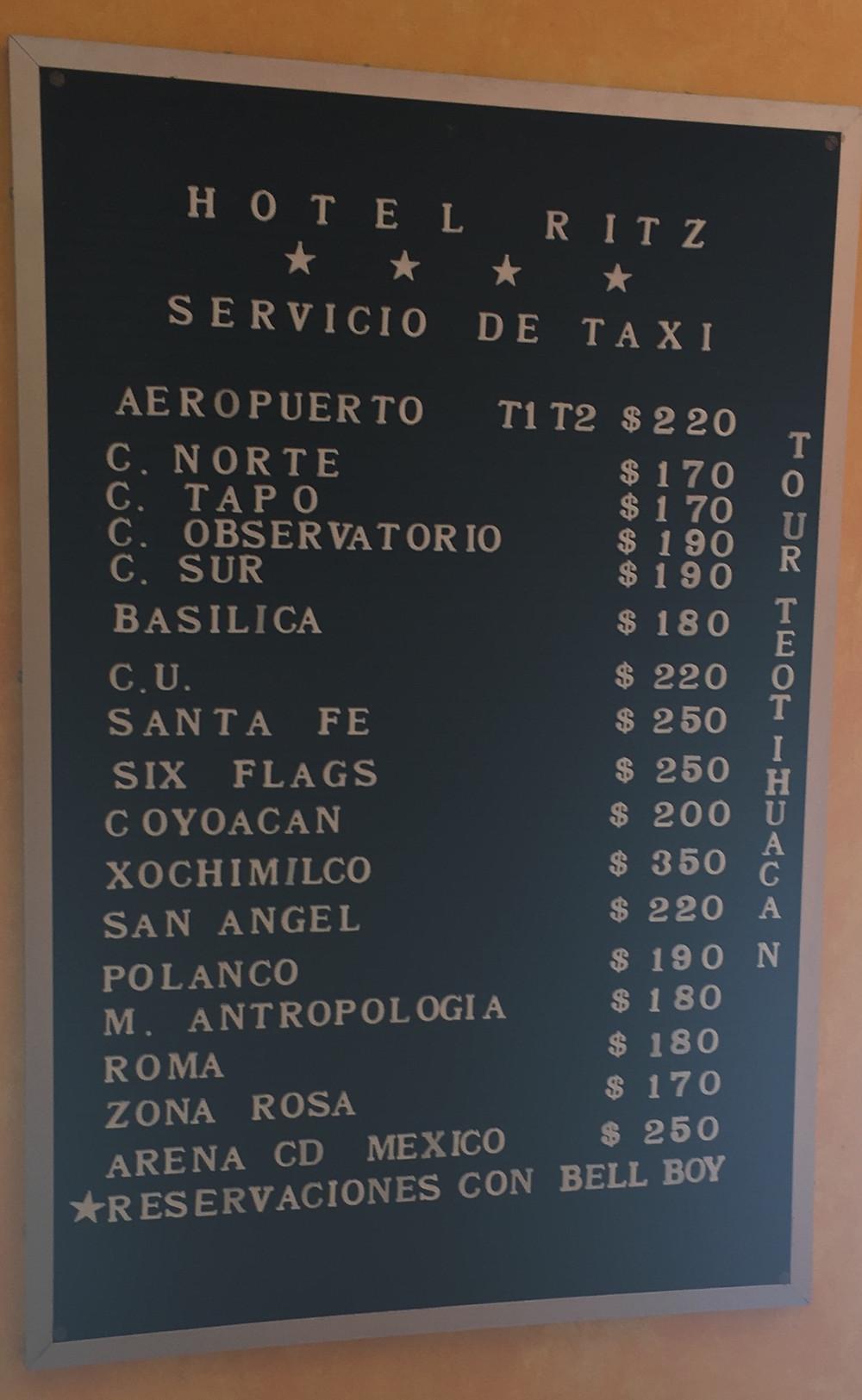 Transportation cost chart Hotel Ritz