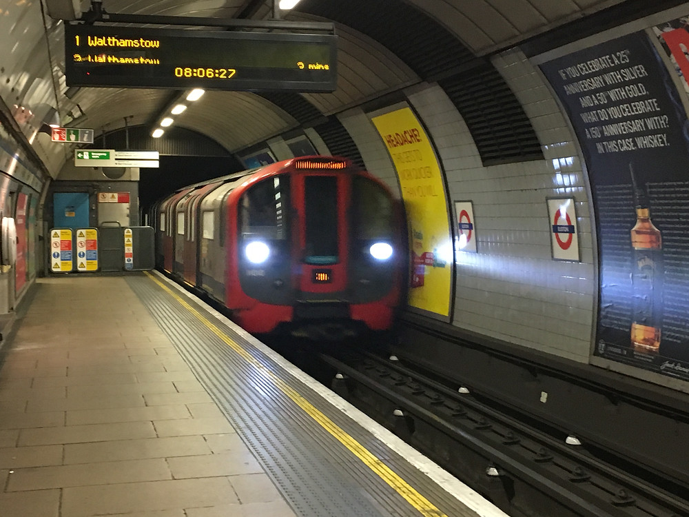 The train pulling into the station in London