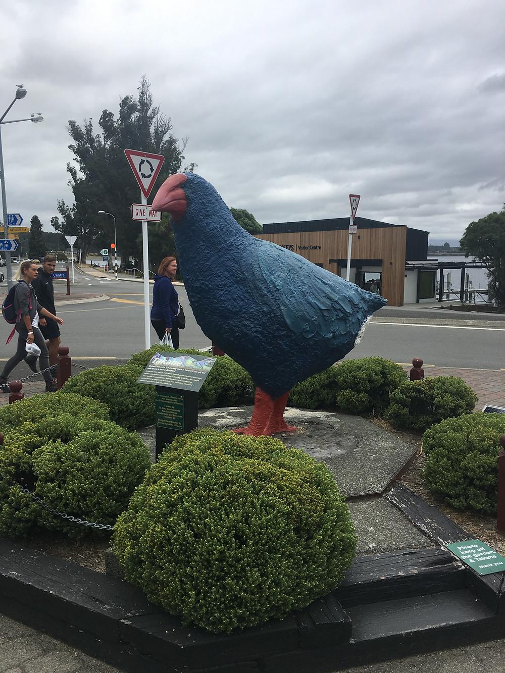 A statue of a Takahe