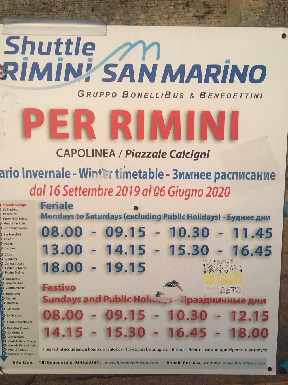 Bus Schedule Rimino to San Marino