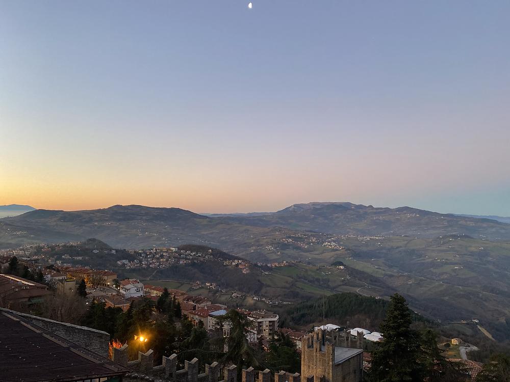 Sunrise above San Marino