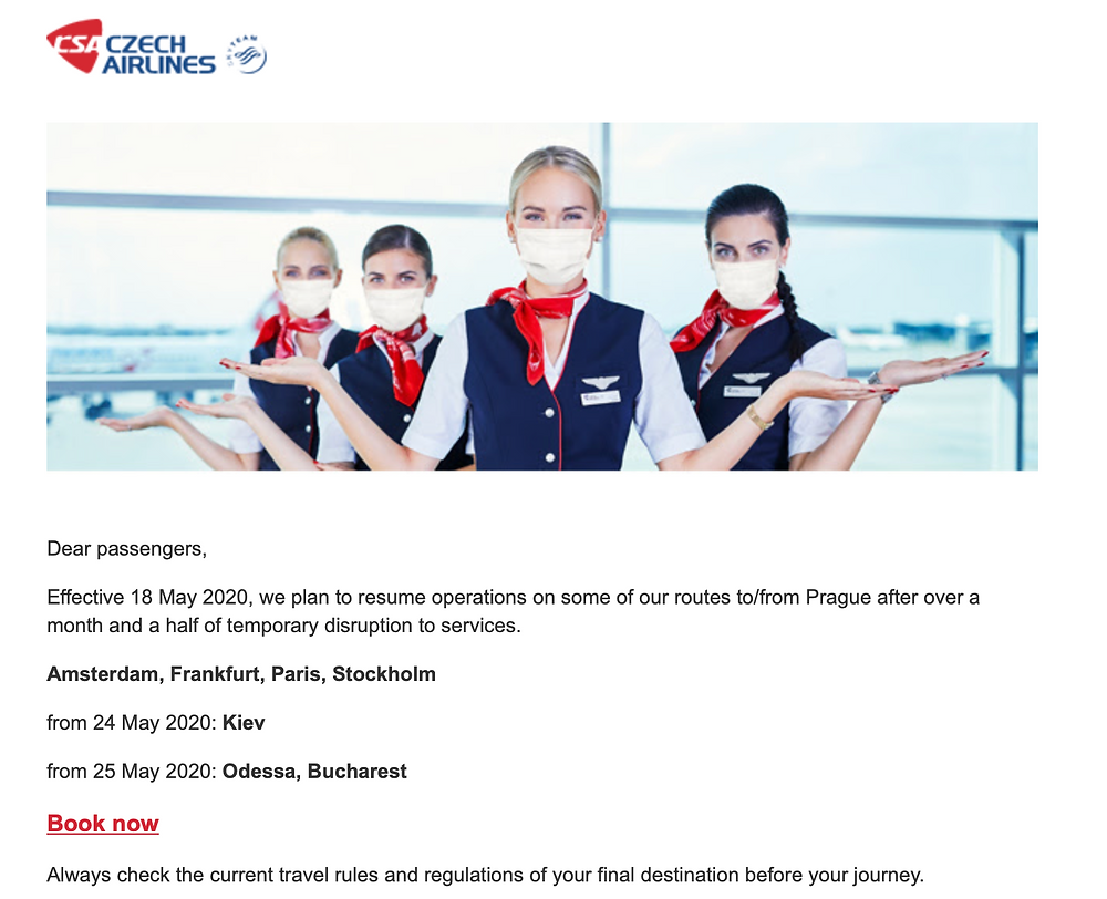 Email from Czech Airlines