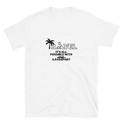 White front view of the travel t-shirt
