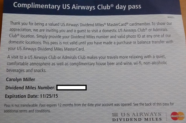 US Airways Day pass (US Airways now American Airlines)