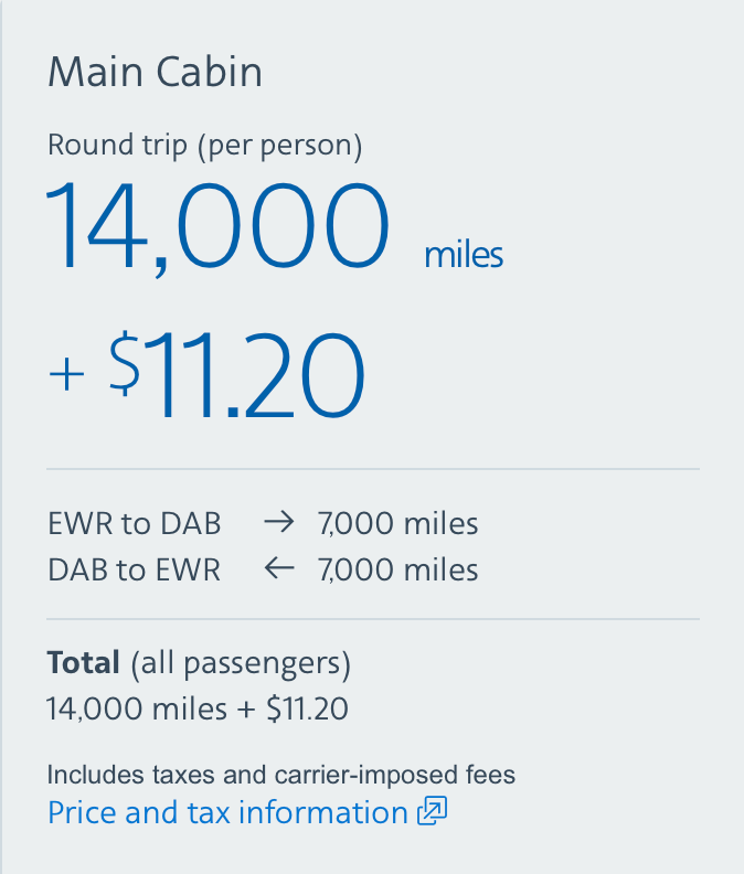 Cost of ticket on miles from New Jersey to Daytona Beach