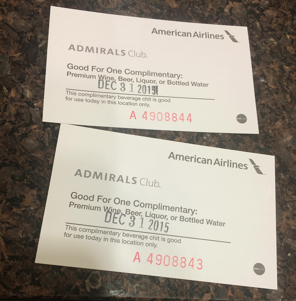 American Airlines Lounge Drink Voucher