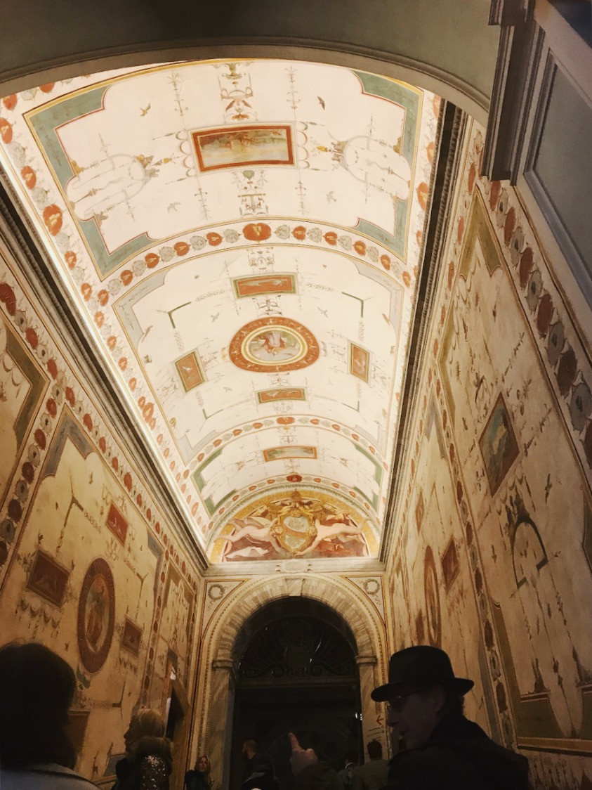 The ceiling of one of the rooms