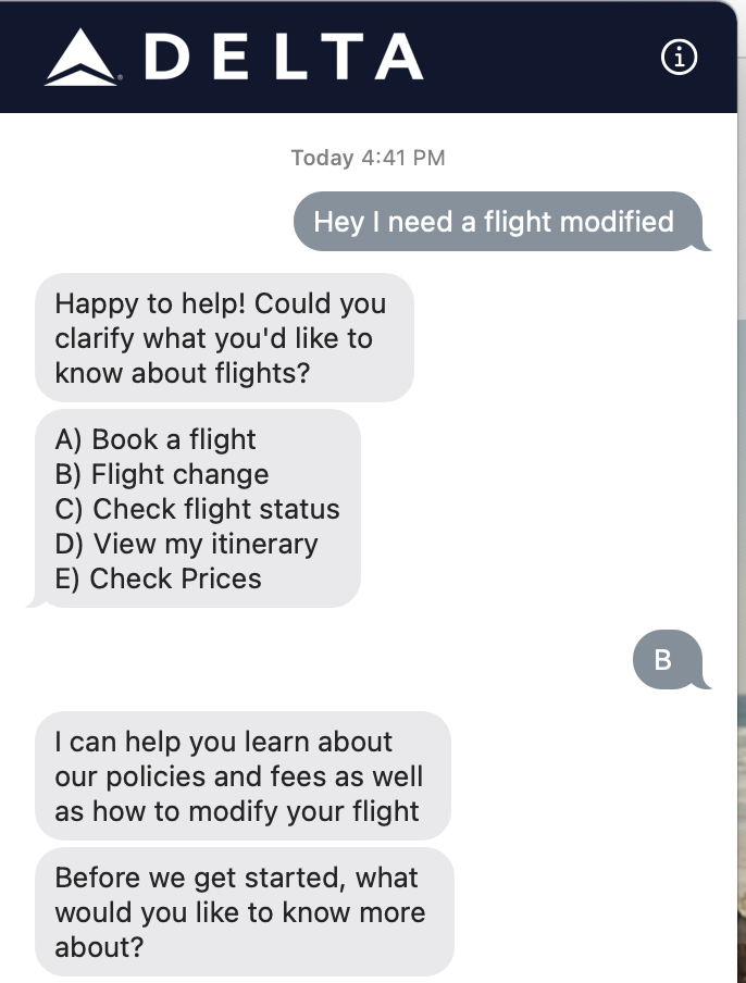 Text Convo with Delta Airlines