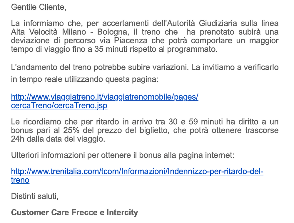 Email from Trenitalia