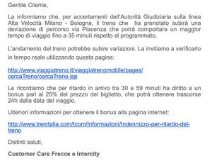 Email from Trenitalia