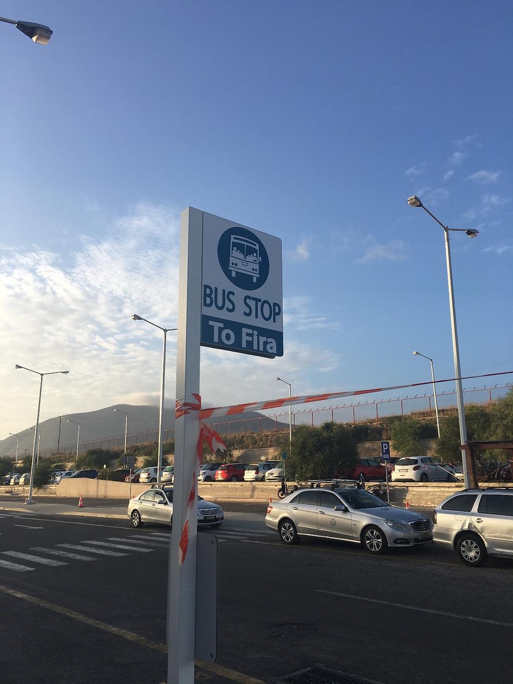 Bus stop at Santorini Airport