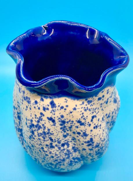 Blue Bow Wave Wavy Vase